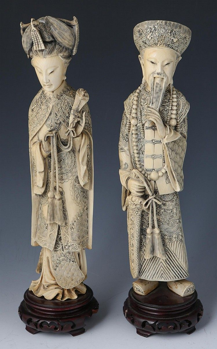 Antiques Pair Of Old Bone Asian Figures On Wooden Base