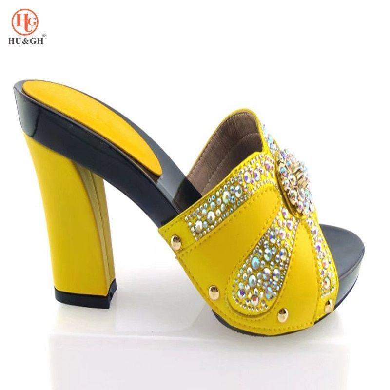 New Ladies Slippers Shoe Yellow African Women Wedding Shoes Elegant Italian Woman  Shoes with Stone High 333dcb6830b8