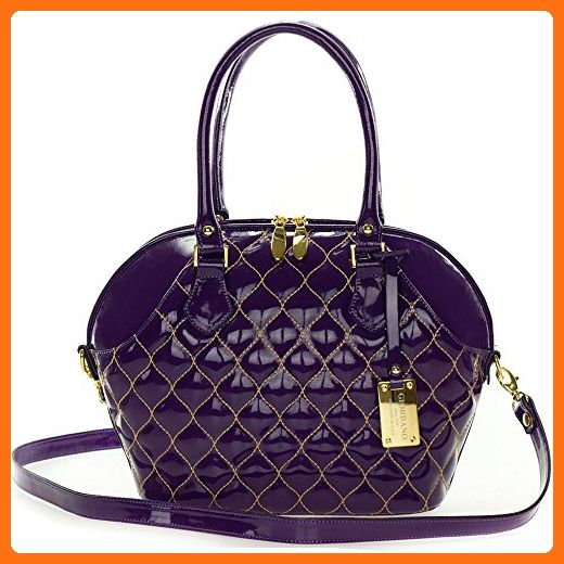 Giordano Italian Made Tote Handbag in Purple Patent Quilted Leather with Gold Stitching - Satchels (*Amazon Partner-Link)