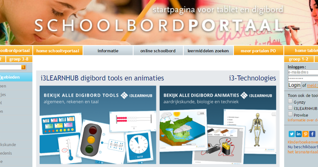 op ' schoolbordportaal - startpagina voor tablet en digibord ' vond