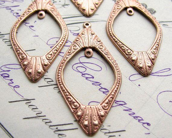 Art Deco earring drops 42mm 4 diamond shaped earring links brass