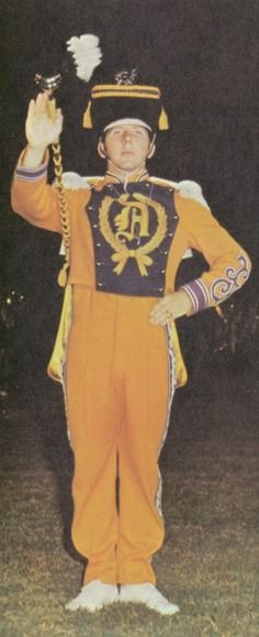 "Unnamed 1970 drum major in the ""Bronco"" yearbook at Denton high school in Denton, Texas. #Denton #Bronco #yearbook #1970"