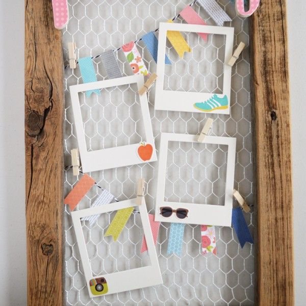 DIY play frame by @thehappyscraps made with @pebblesinc Happy Day collection