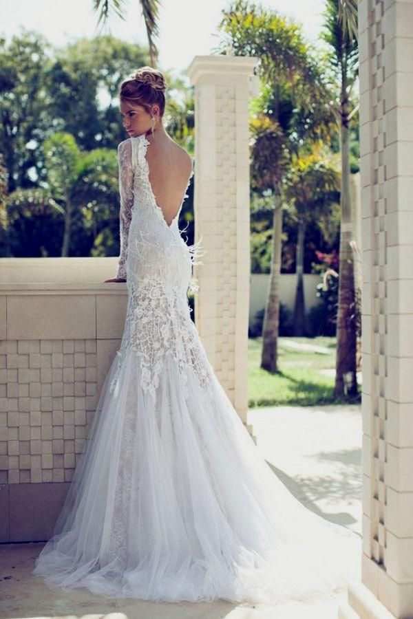 Low back lace sleeve wedding dress wedding ideas pinterest low back lace sleeve wedding dress junglespirit Image collections