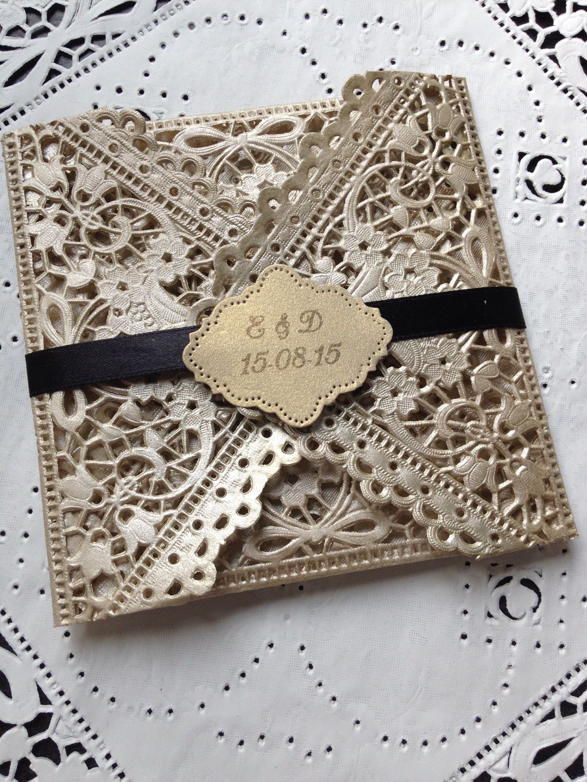Personalised Hand Made Doily Wedding Invitation In Gold Black With Monogram Satin Wrap By Crafty Designer: Black Doily Wedding Invitations At Reisefeber.org