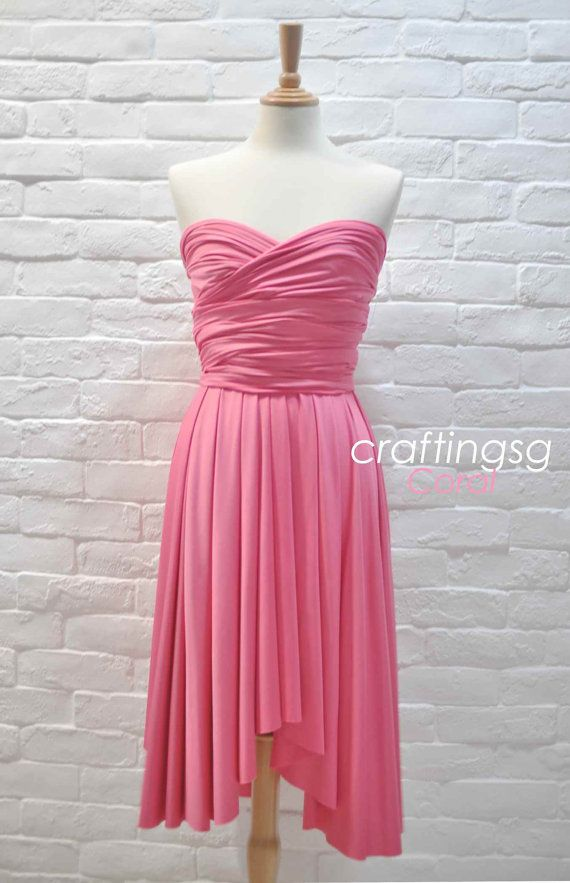 Bridesmaid Dress Infinity Dress Coral Pink Knee by craftingsg ...