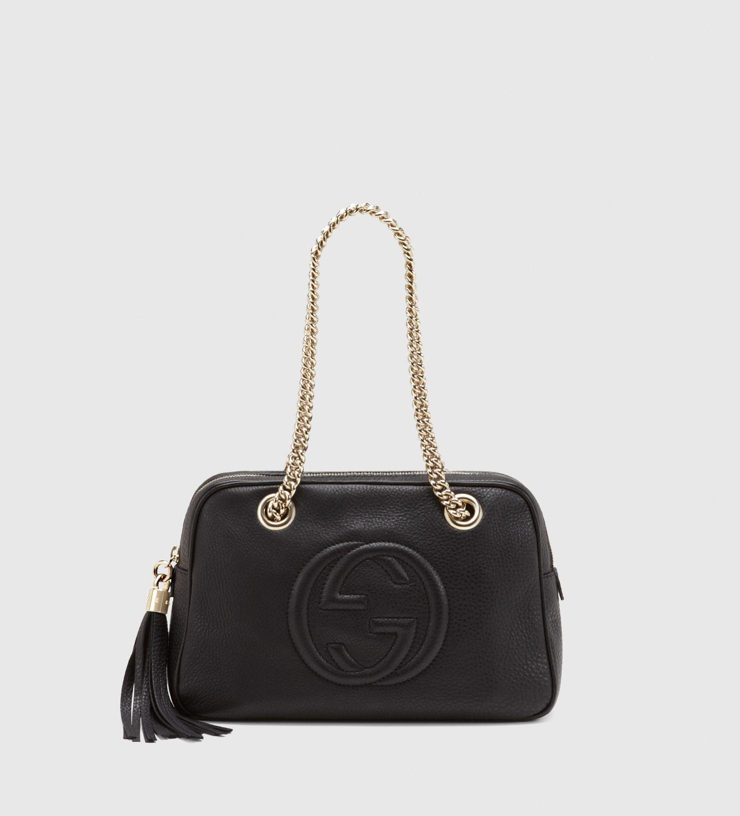 52b259a253d sac à épaule soho en cuir noir avec double bandoulières en chaîne