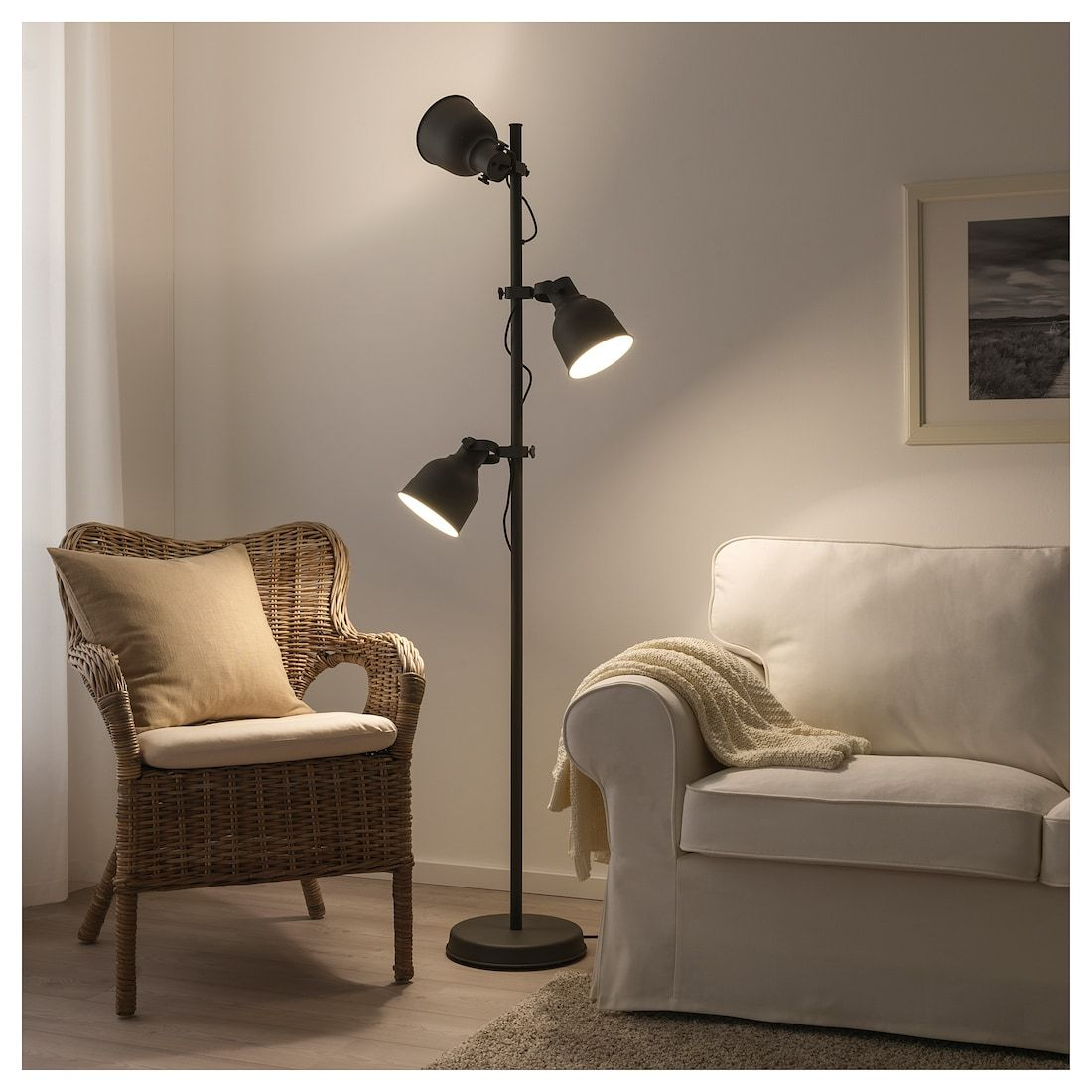 IKEA HEKTAR Dark Gray Floor lamp w/3spots and LED bulbs