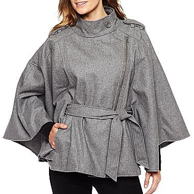 68983ccff Belted Zip Cape Coat - jcpenney | Wants | Winter jackets women ...