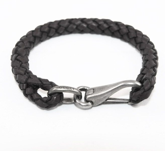 ebdd196ce Gucci Black Leather Braided Bracelet Sterling Silver Clasp. Our price,  $165.00!!