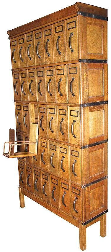 Quarter Sawn Oak Stacking File Cabinet With 35 Vertical Drawers In