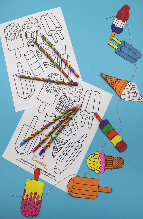 zelf maken met papier ijsjesslinger zomerknutsels weer