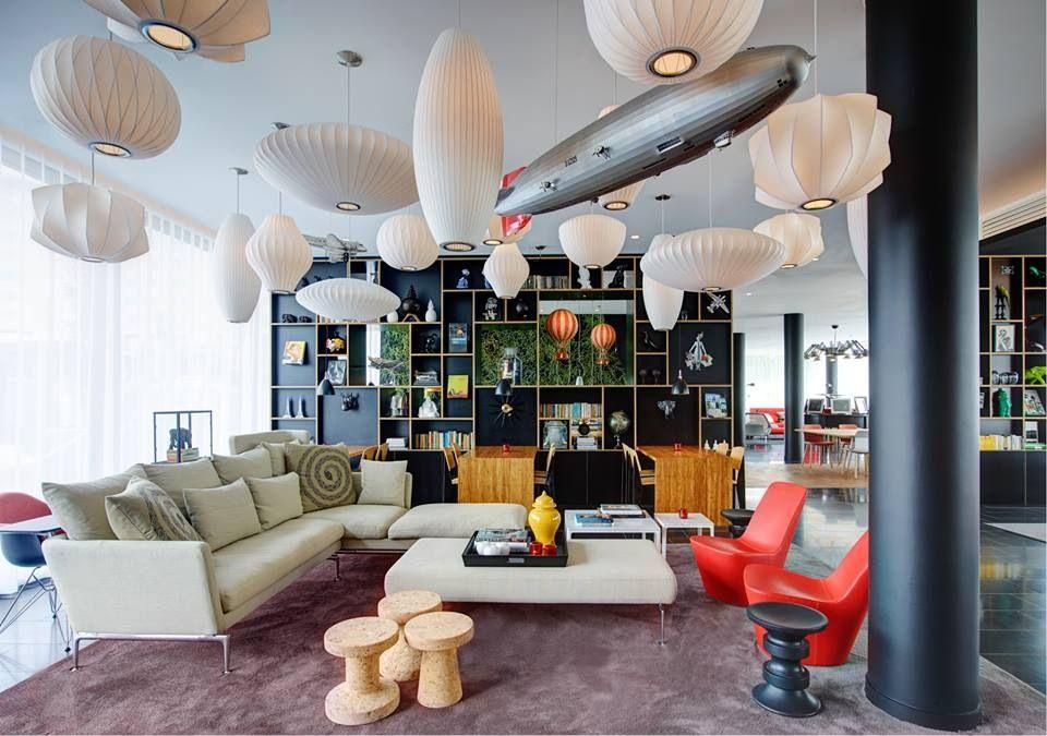 Lounge area- Citizen M, Paris CDG Airport.