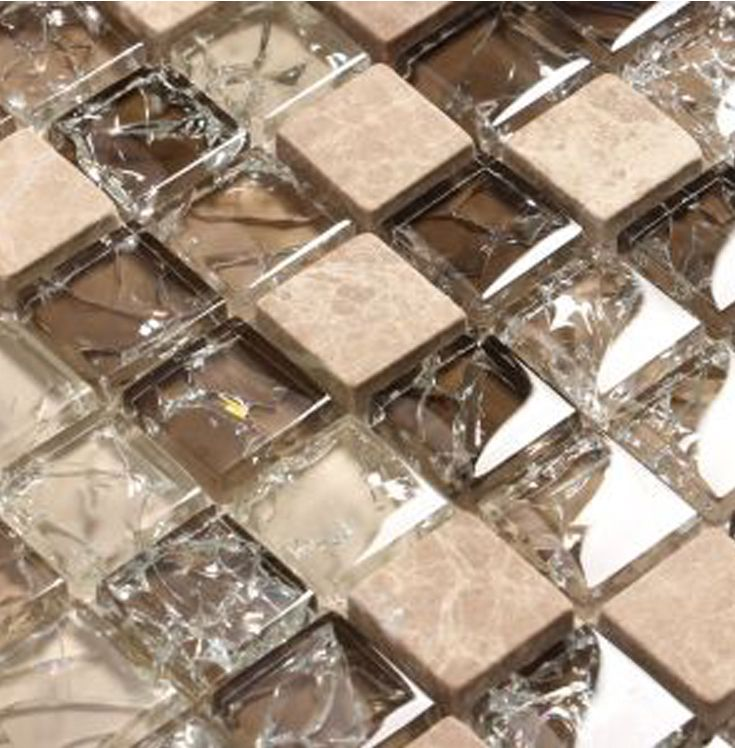 Cracked Glass Backsplash Tile In 1 Squares Natural Stone Tones Of Brown Cracked