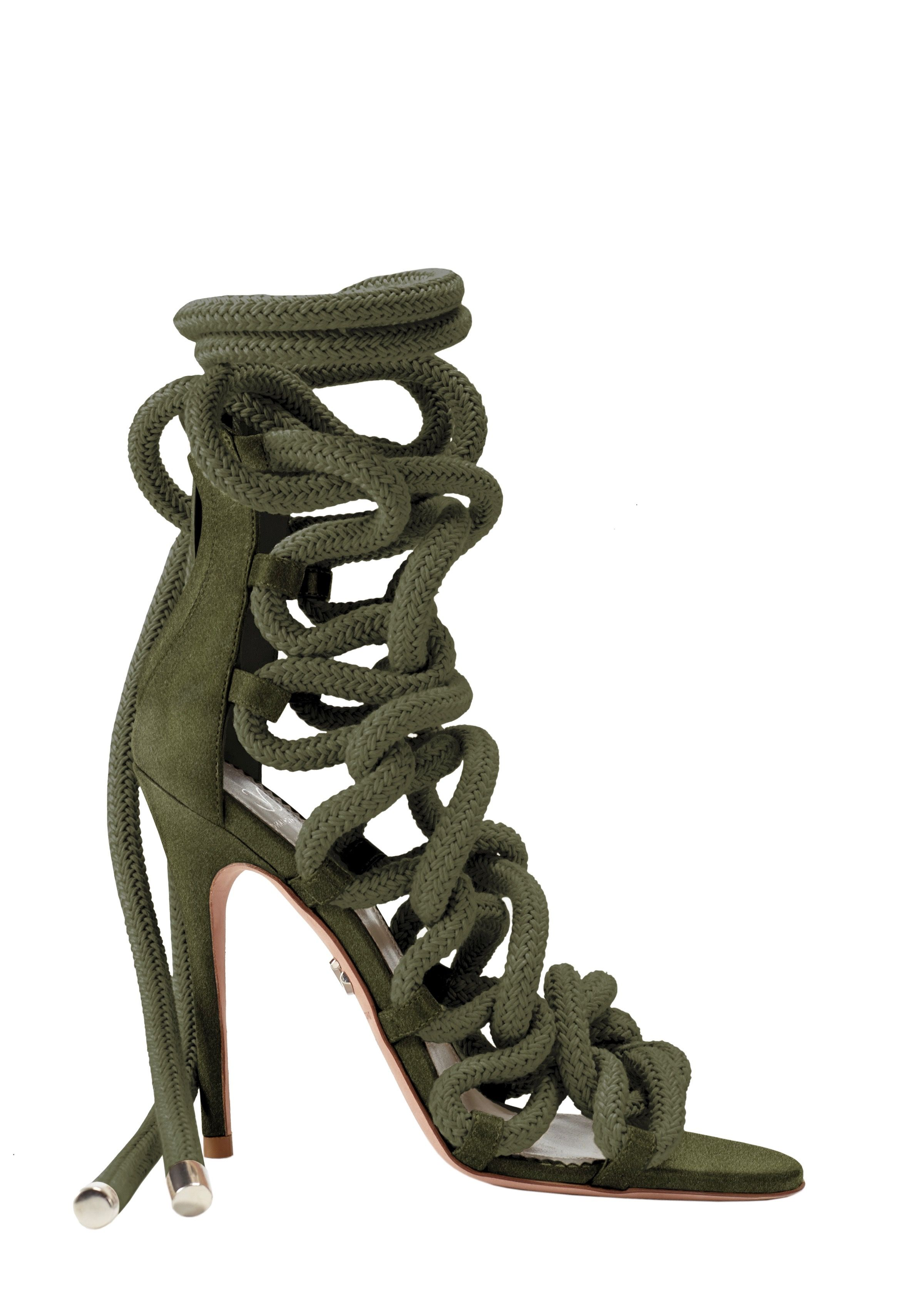 Carla Army Green Suede Rope Sandals - Monika Chiang