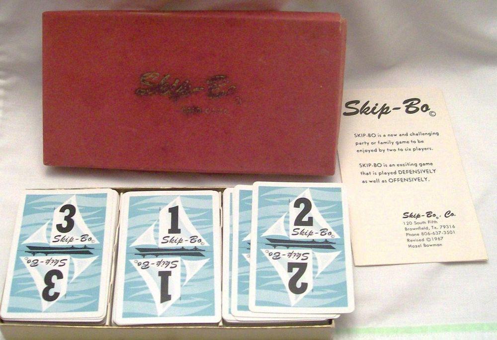 Vintage Skip Bo Card Game 1967 Triple Deck Original Box Instructions