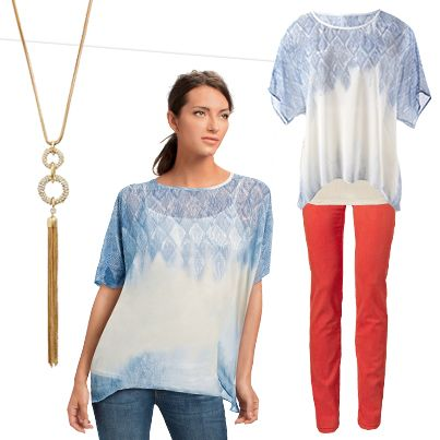 #CAbi - Heading to a barbecue? Instead of the same T-shirt and jeans combo, swap out a basic tee for a fresh vibe top like the Fade Out Top with a Essential Tank underneath. Replace the basic blue jeans and add a pop of color with the Pigment Jegging. #SpringOutfits #fashion