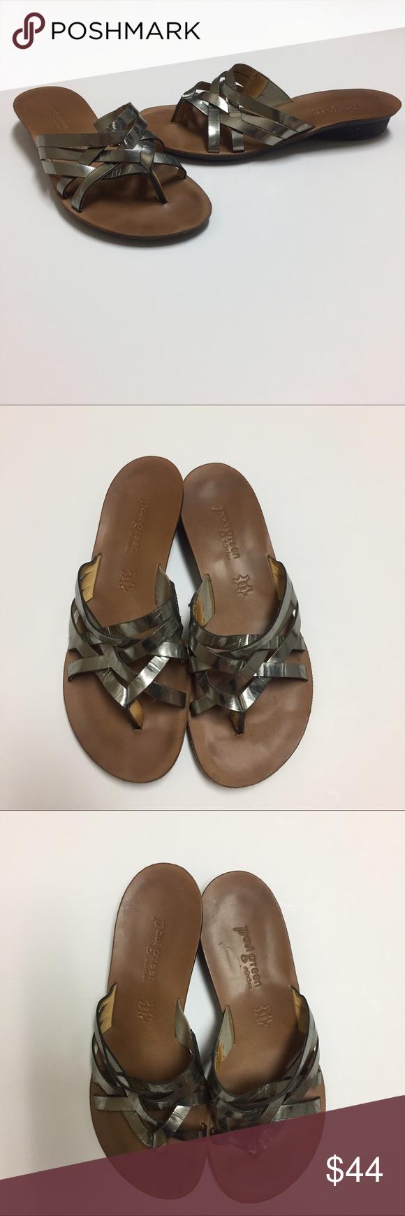 paul green munchen metallic sandals slides 6 5 paul green shoes
