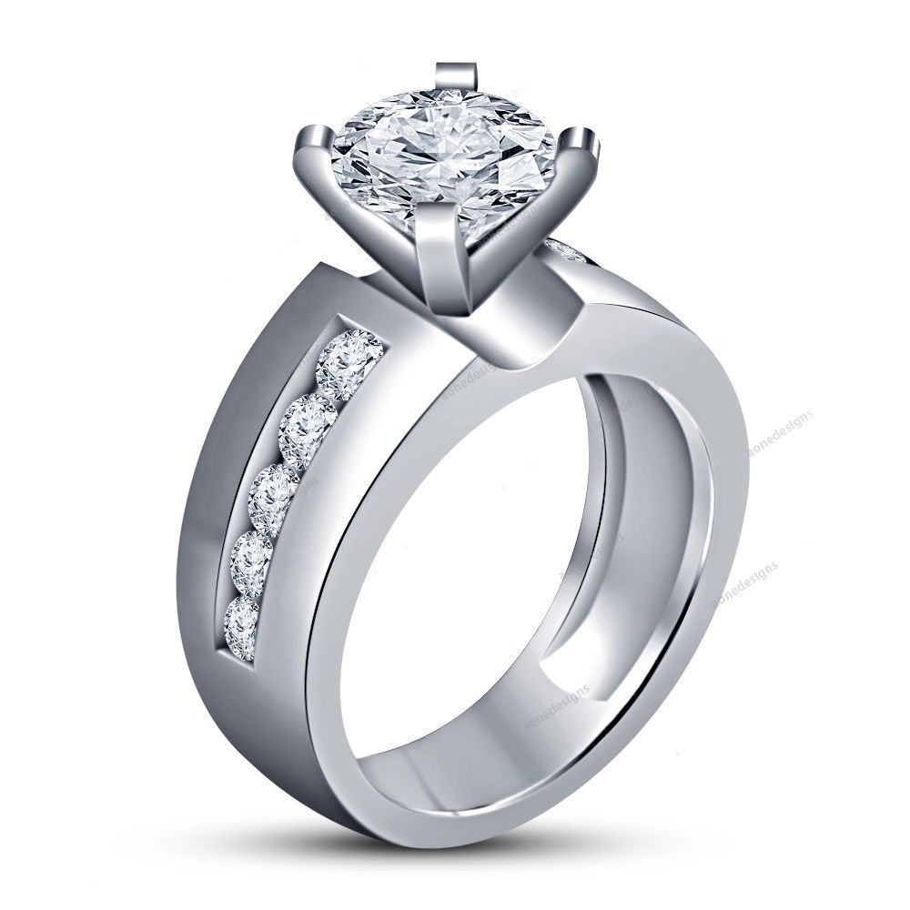 Round 925 Silver Simulated Diamond Women's Wedding Solitaire With Accents Ring…
