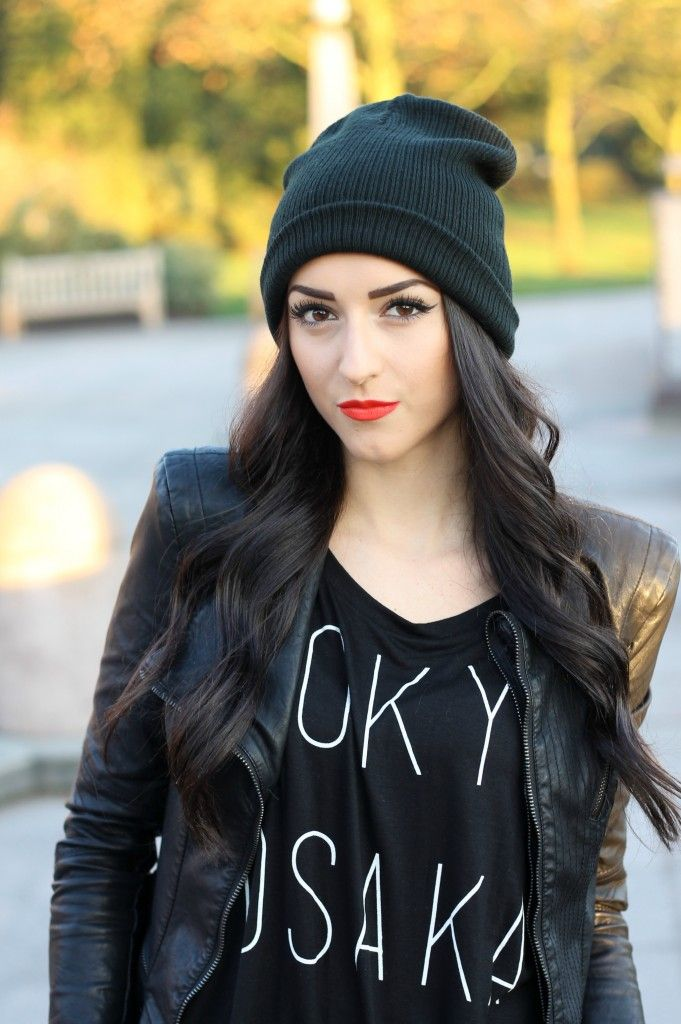 5143e4df267f0 fashion  fall style  makeup   hair  leather jacket  beanie  fashion blog