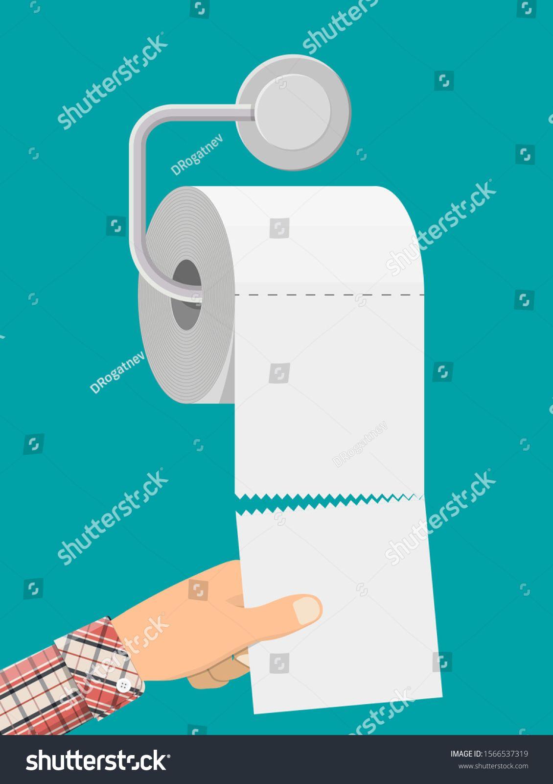 White roll of toilet paper on holder. Hank of paper for