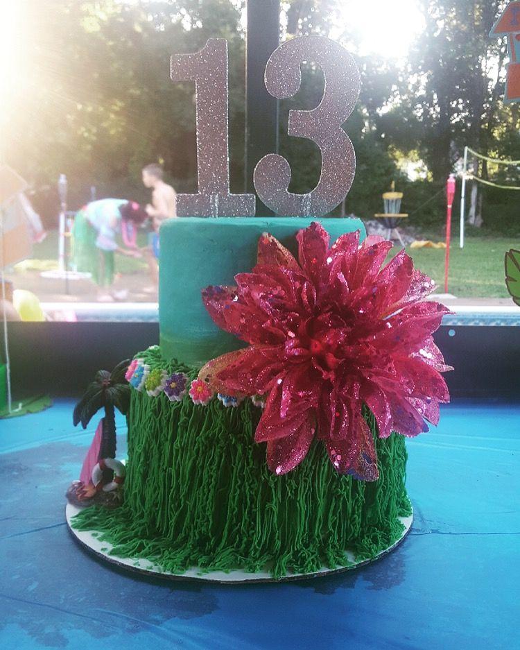 Buttercream two tier cake luau theme hawaiian birthday