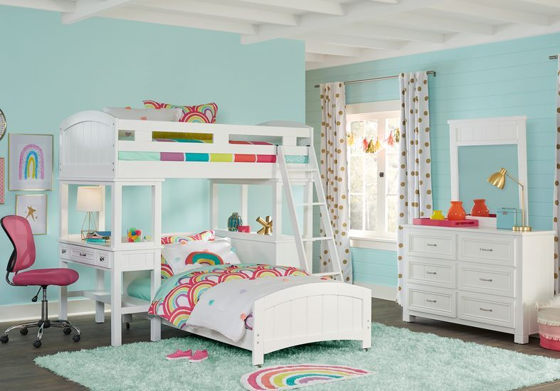 Cottage Colors White Twin Loft Bunk With Desk And Dresser Bunk