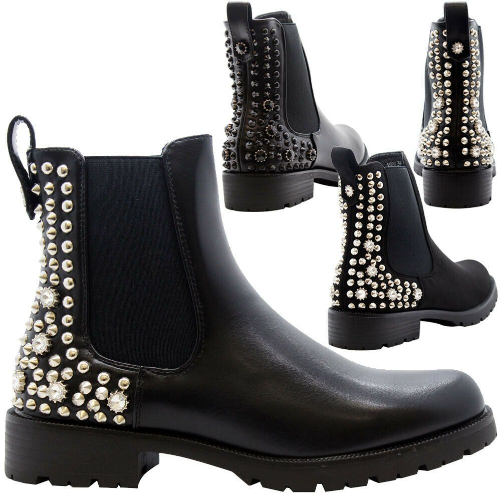 Ladies Women Chunky Block Heels Goth Punk Studded Chelsea Ankle Boots Shoes Size