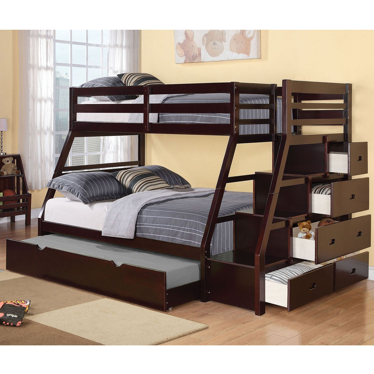 Jason Twin Over Full Bunk Bed W Storage Ladder Trundle In