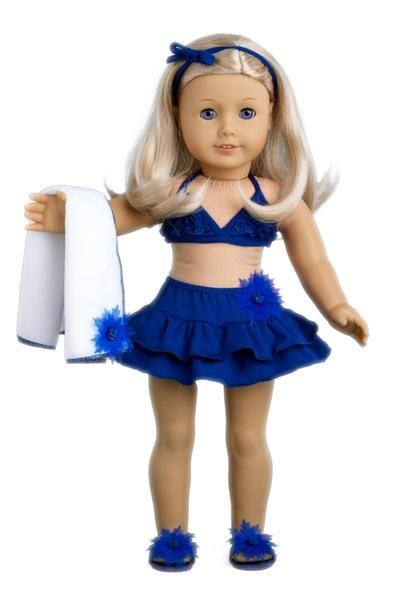 Bikini Mini - Clothes for 18 inch Doll - 4 Piece Swimsuit Outfit - Skirt, Top, matching Flip Flops and Beach Towel #18inchcheerleaderclothes