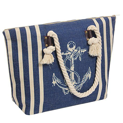 7e9194062 Large Jute Beach Tote Bag-Top Zipper Inner Pocket with Nature Thick Rope  Cotton Handle