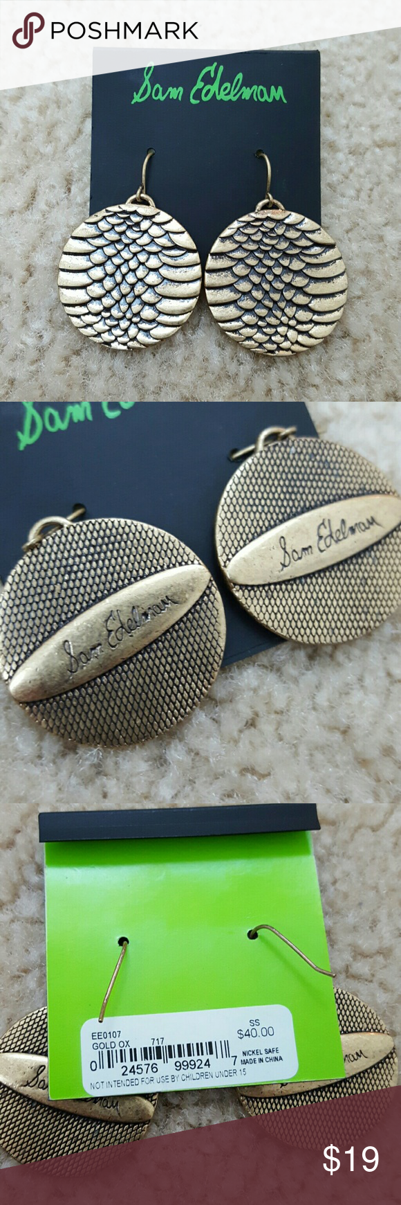 Sam Edelman Earrings Sam Edelman gold tone metal earrings. Nice pantina brings out the reptile skin texture.   Nice quality. 1.25 inch circles Sam Edelman Jewelry Earrings