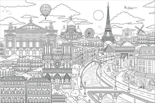 Visite Paris Coloring Wall Decaldefault Title Colouring Wall Book Art Projects Hand Art Drawing