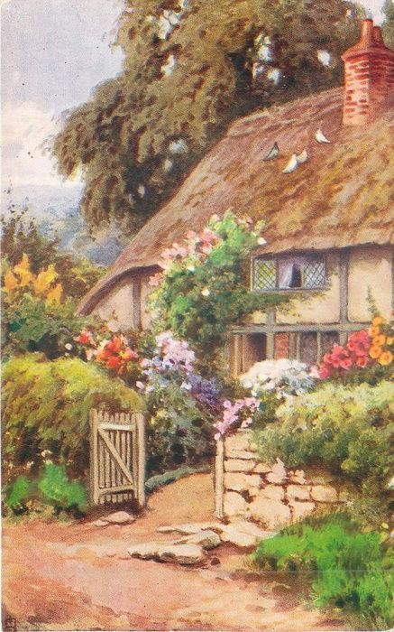 garden in front of thatched cottage path gate  stone wall pigeons on roof large tree behind Setting up the garden fence correctly If you want to reerect a garden fence yo...