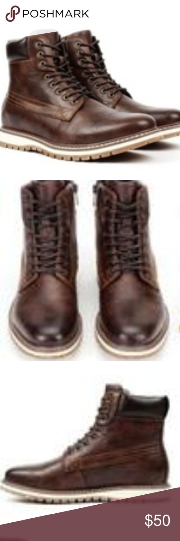 Dark Brown Round-toe lace-up boots for