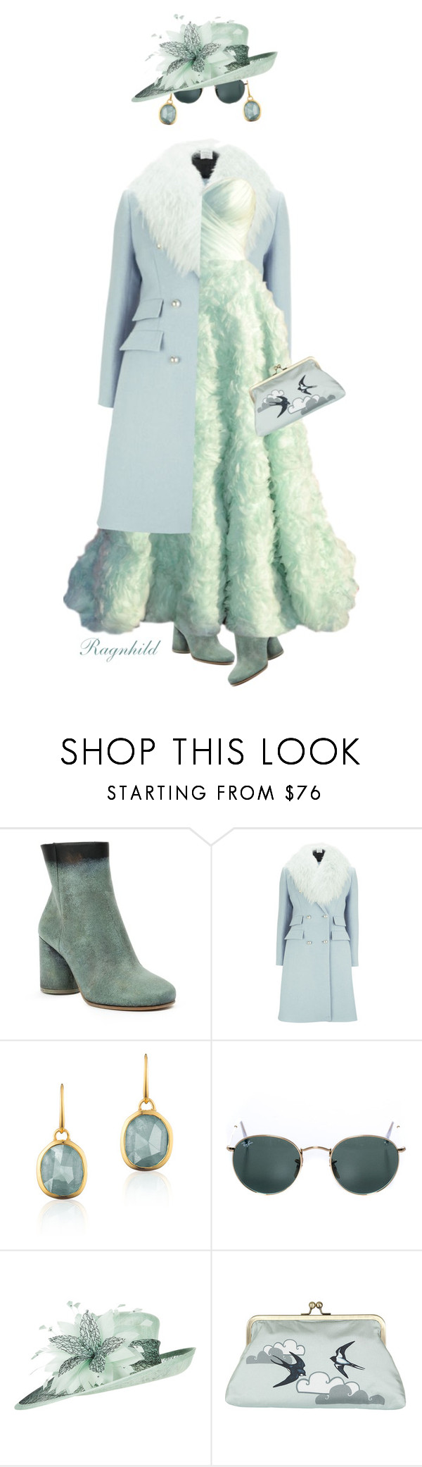 """Winter Mint"" by ragnh-mjos ❤ liked on Polyvore featuring Maison Margiela, Matthew Williamson, Monica Vinader and Ray-Ban"