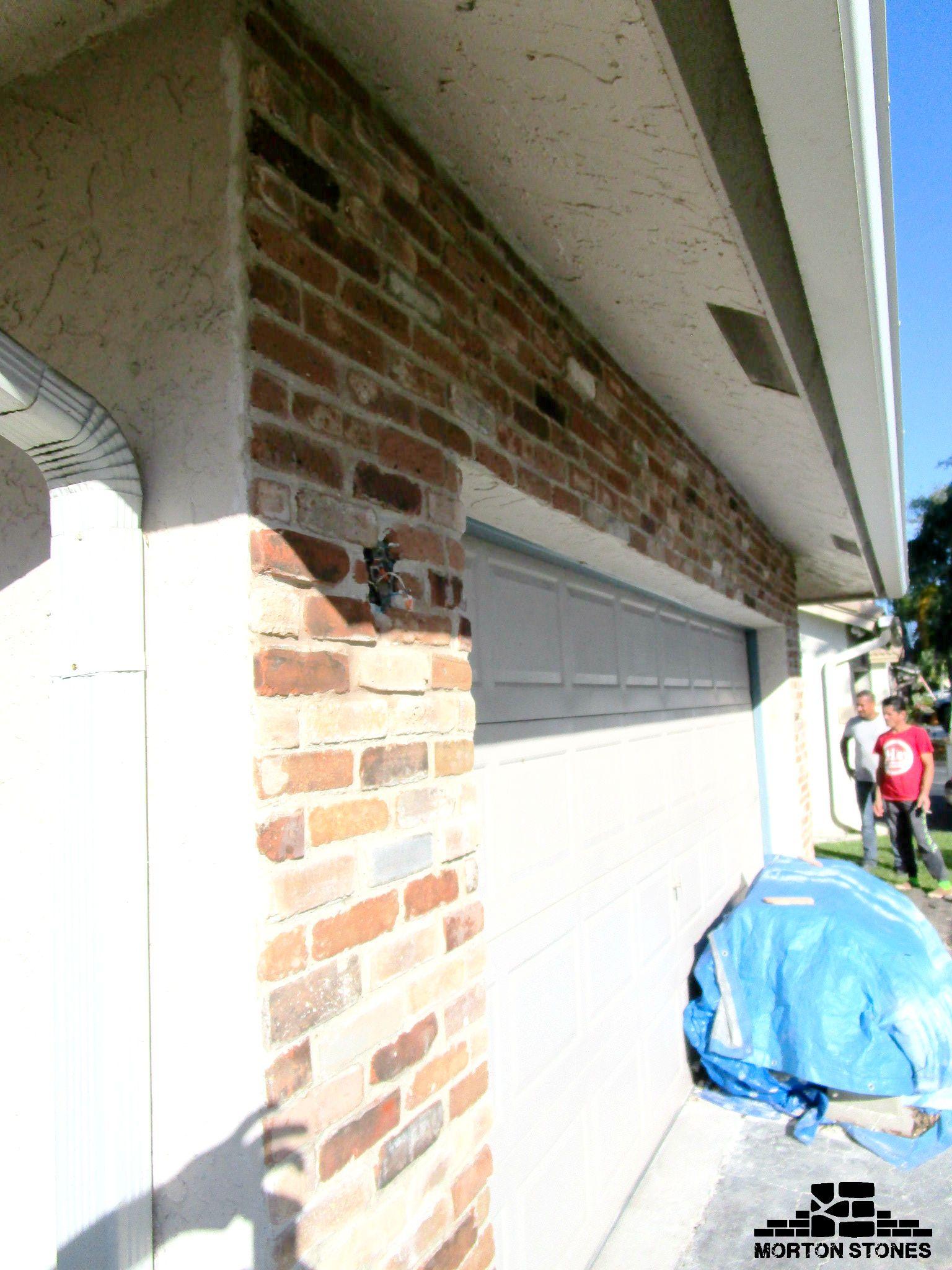 Installation Of Brick Veneers On A Garage Wall Mortonstones Brick Tiles Home Decor Brickveneer Exterior Thinbric Brick Veneer Garage Walls Thin Brick