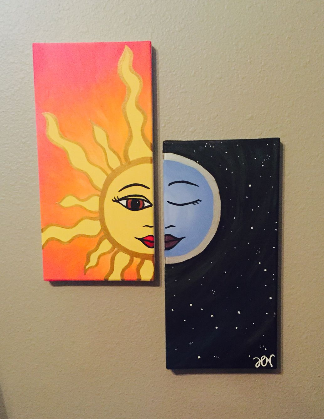 Awesome Canvas Paintings Part - 14: Sun And Moon Matching Canvas Paintings.
