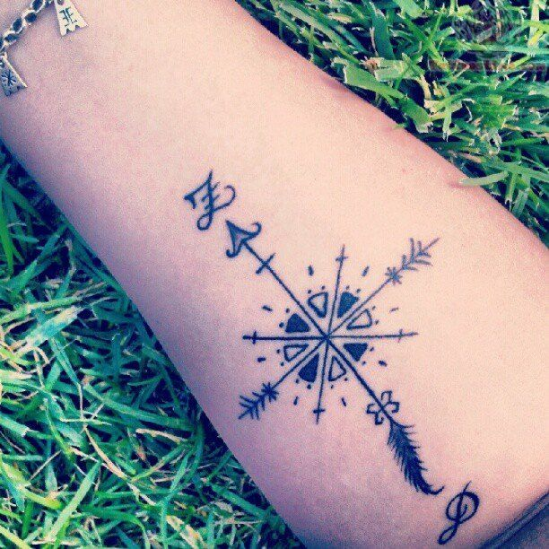 Arrow Compass Tattoo On Arm Tattoos Compass Tattoo Design