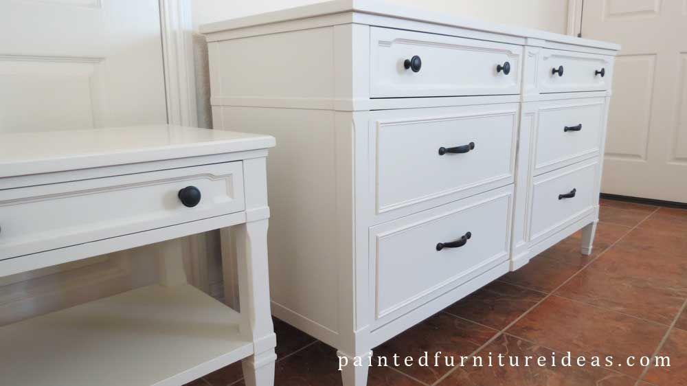 Drexel Dresser Set Refinished in White - Painted Furniture Ideas #furnitureredos