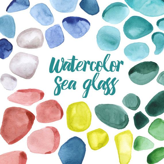 Watercolor Sea Glass Clipart Illustration Rocks Precious Minerals