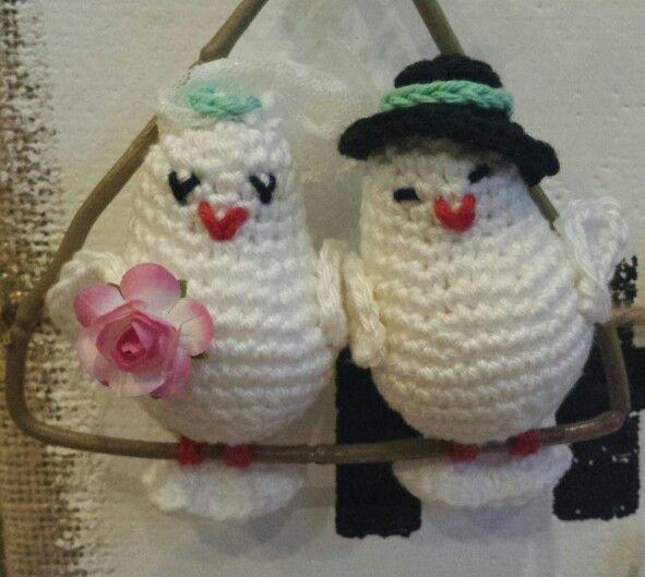Gehaakt Vogeltjes Bruidspaar Horgolt Figurak Crochet A How To Make