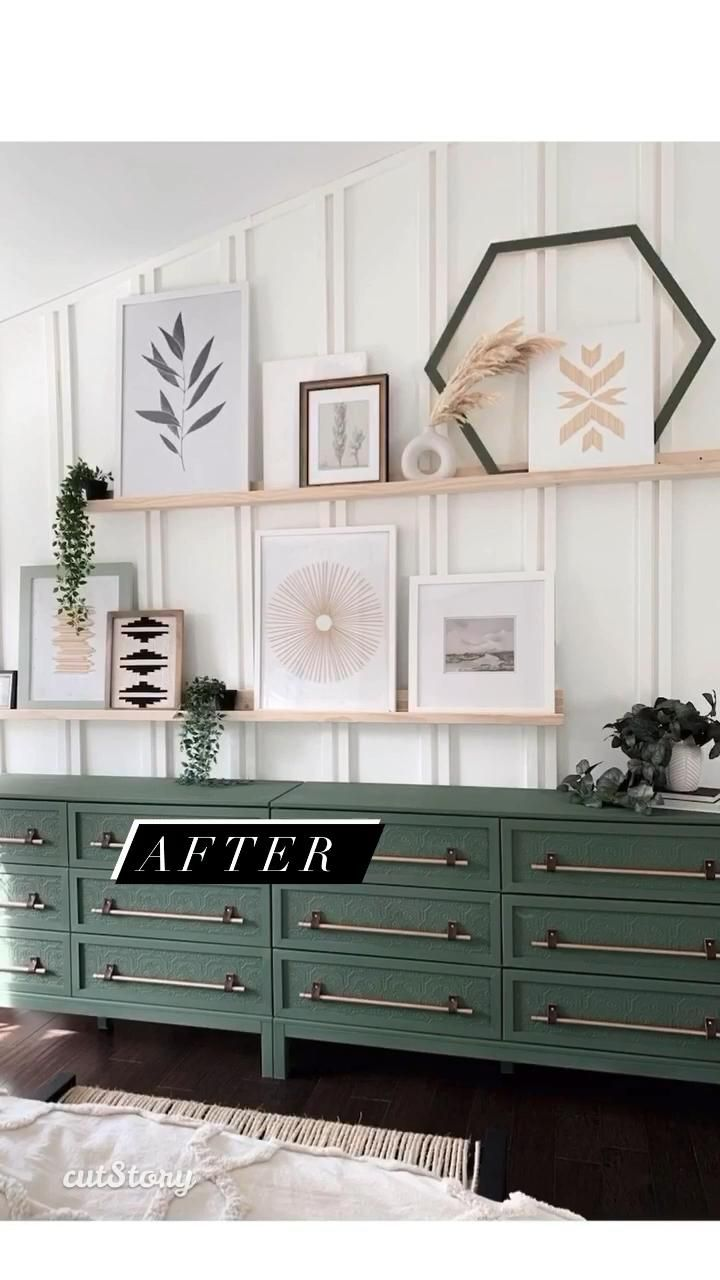 IKEA TARVA Hack - Paintable Wallpaper and Copper Pipes