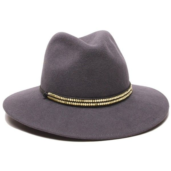 ále by Alessandra Metallica | Gray Felt Hat with brass metal Trim |... (€84) ❤ liked on Polyvore featuring accessories, hats, bucket hats, travel hat, felt hat, gray hat and grey hat