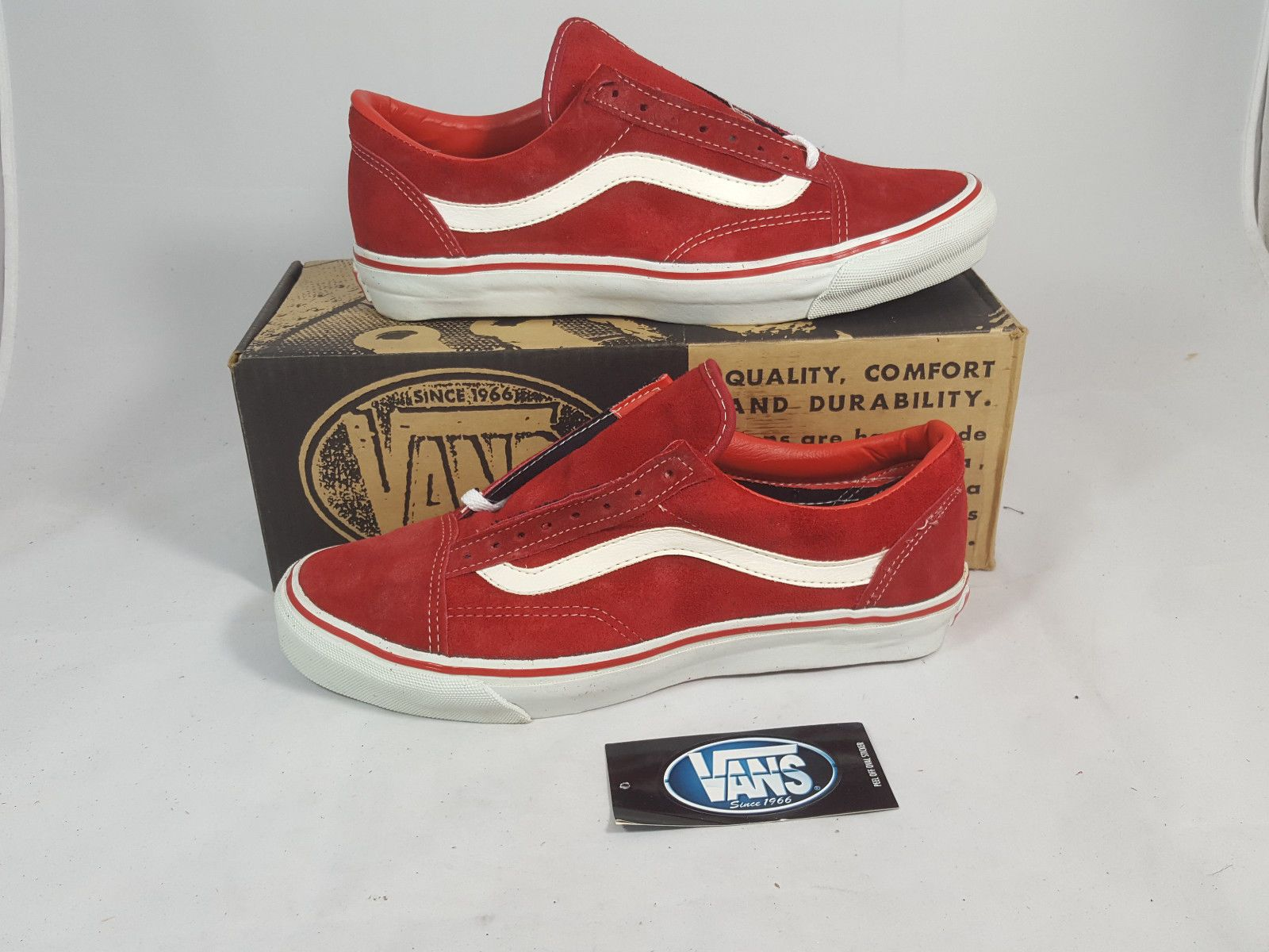3ded56f4e4 Vintage Vans OLD SKOOL RED SUEDE made USA Men s Size 10 NOS SK8 HI BMX