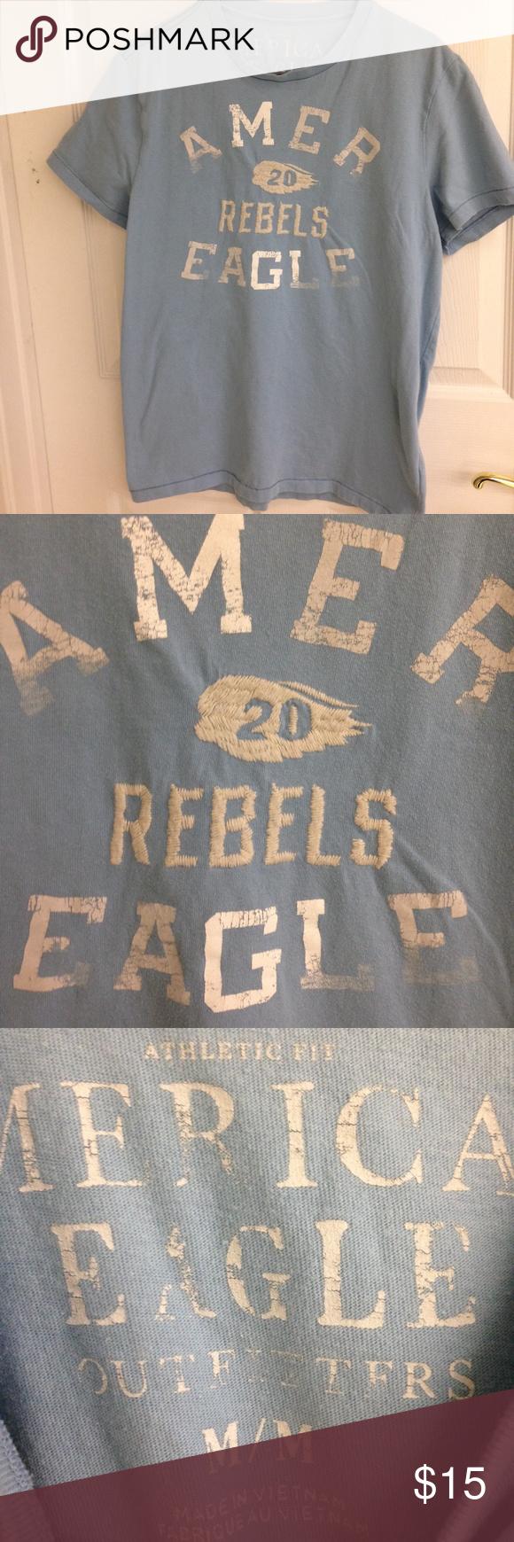 American Eagle Light Blue T-shirt | Light blue, American eagle ...