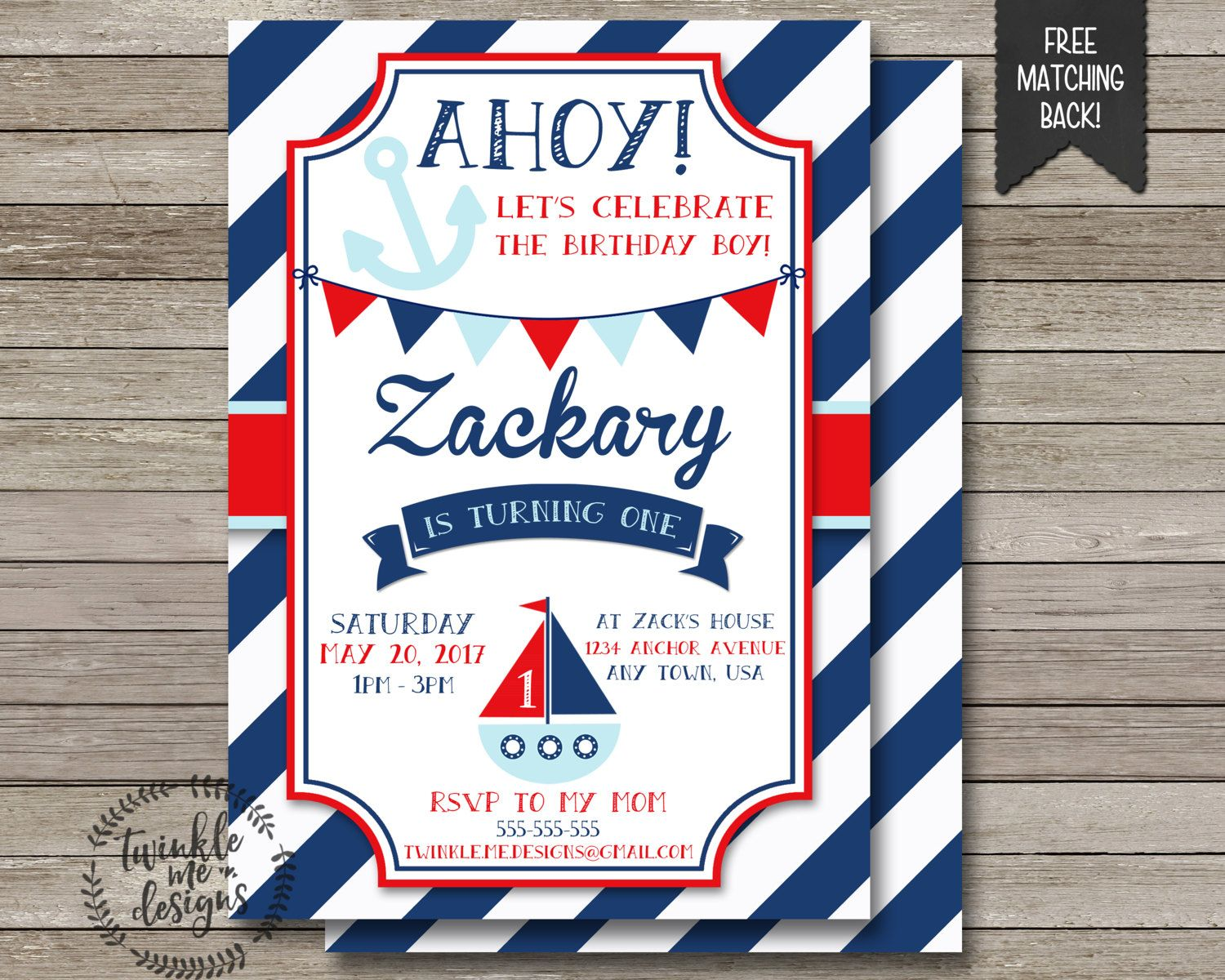 Nautical First Birthday Invitation, Birthday Invitations for Boys ...
