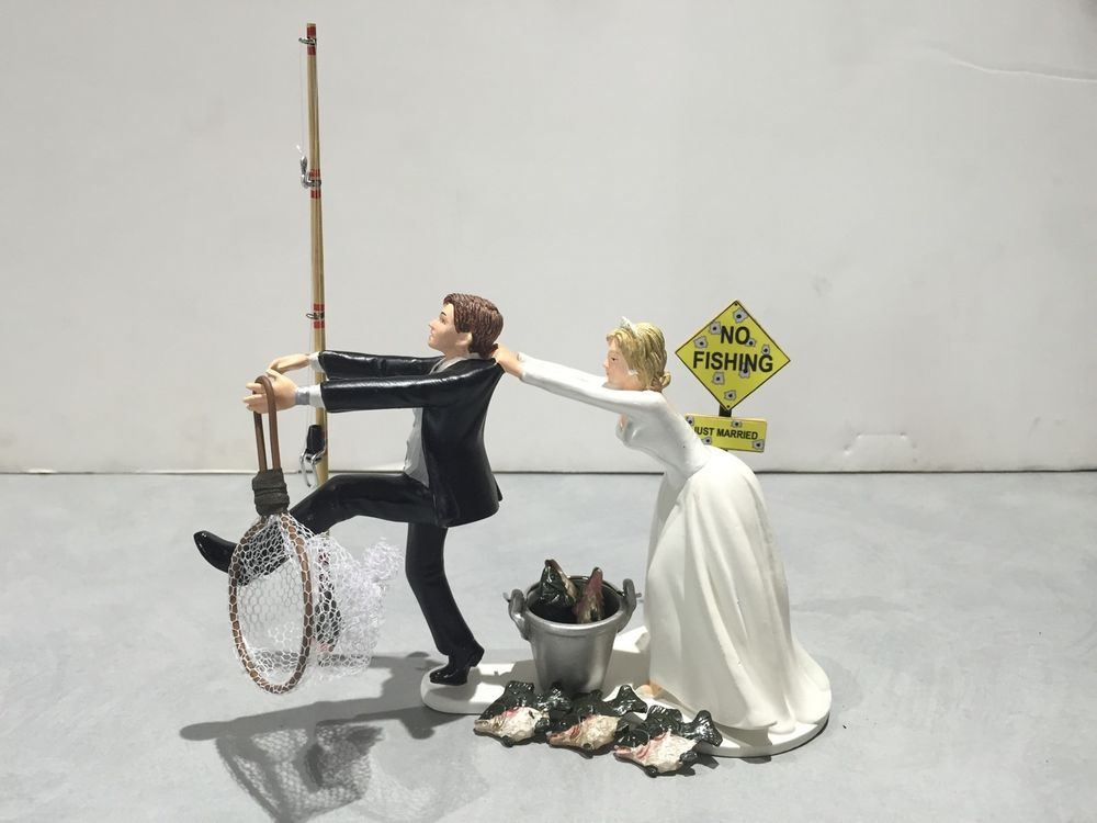 Fish Fishing Wedding Cake Topper Funny Humor Bride Groom Pole Pail Net Sign