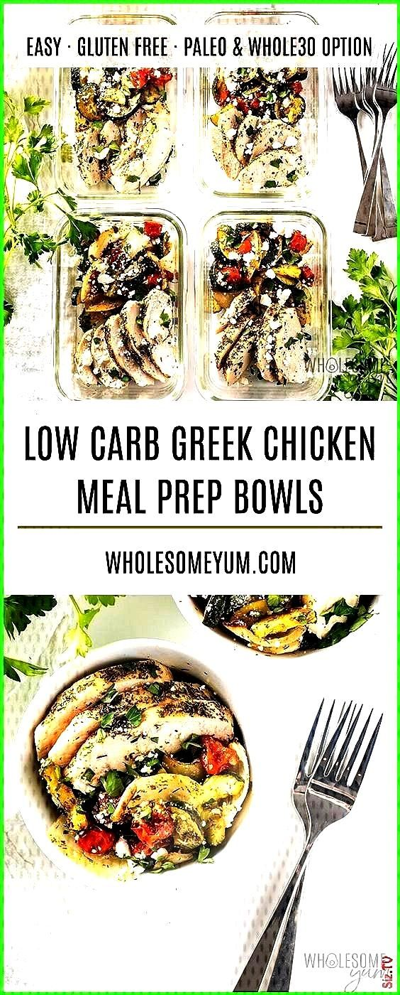 chicken meal prep bowls are SO EASY Only 20 minutes prep time to ma Bowls Chicken Easy Greek meal m
