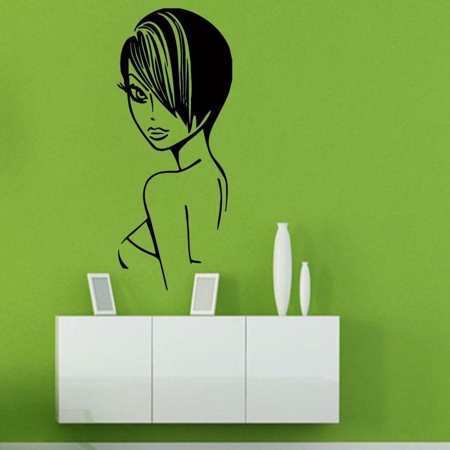 Salon Sticker Beauty Decal Hair Barber Shop Sexy Girl Posters Vinyl Wall  Art Decals Parede Decor